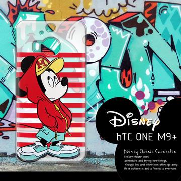 迪士尼授權正版 HTC One M9+ M9 Plus 街頭系列透明軟式手機殼(帽T米奇)