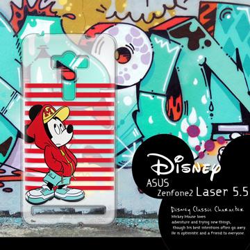 迪士尼授權正版 ASUS ZenFone 2 Laser ZE550KL 5.5吋 街頭系列透明軟式手機殼(帽T米奇)