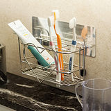 《Peachy life》髮絲紋無痕貼系列-大容量愛心牙刷架 304不鏽鋼