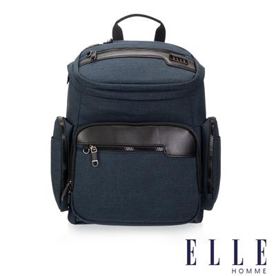 ELLE HOMME 精湛優雅紳士風範14吋筆電扣層極致機能後背包-深藍 EL83832-08