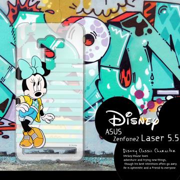 迪士尼授權正版 ASUS ZenFone 2 Laser ZE550KL 5.5吋  街頭系列透明軟式手機殼(俏米妮)