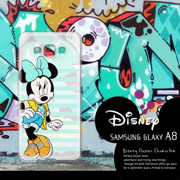 迪士尼授權正版 Samsung Galaxy A8 A800YZ 街頭系列透明軟式手機殼(俏米妮)