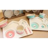 環保無毒竹製兒童餐具-五件組(共2色)