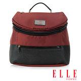 ELLE HOMME 法式精品 可置入IPAD 頭層皮 立體圓筒大容量側背包-暗紅 EL82350-80