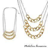 【摩達客Modacore】時尚多層鏈條造型金銀色項鍊
