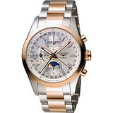 LONGINES Conquest 月相計時機械腕錶-銀x玫瑰金/42mm L27985727