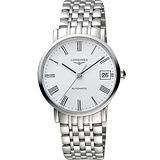 LONGINES Elegant 優雅系列羅馬機械腕錶-銀白/37mm L48104116