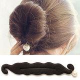【PS Mall】韓國最新海綿寶寶 珍珠雙鉤綁帶丸子頭海綿盤髮器 2個 (H046)