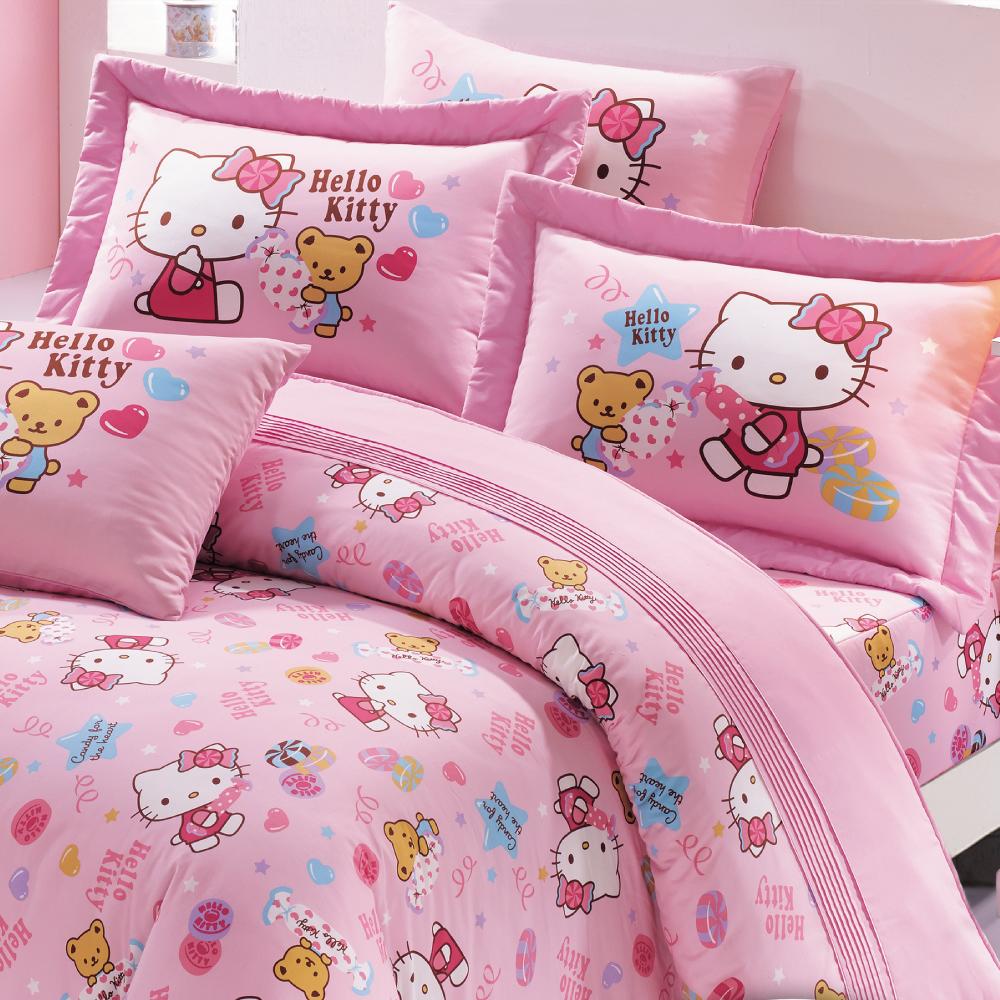 【鴻宇HongYew】美國棉/台灣製/日本抗菌/Hello Kitty我的甜蜜夥伴系列-雙人四件式薄被套床包組