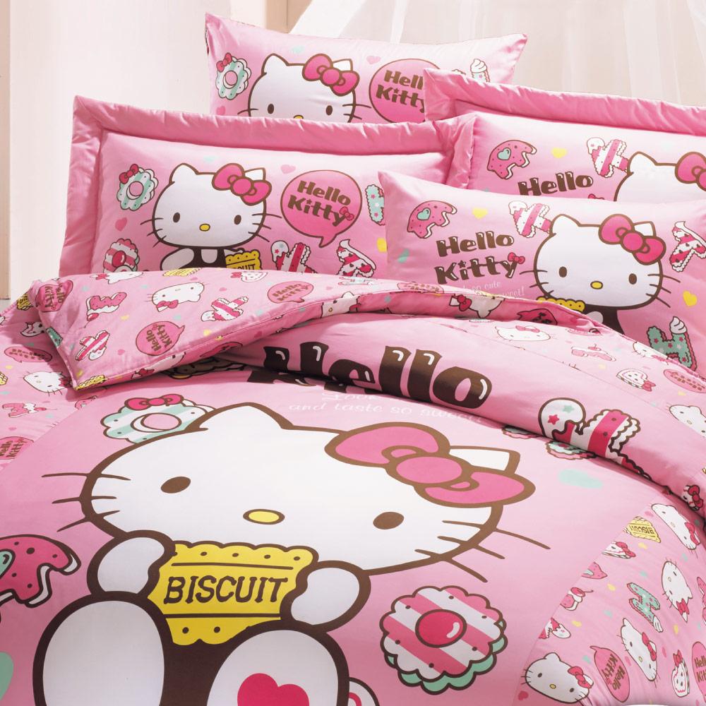 【鴻宇HongYew】美國棉/台灣製/日本抗菌/Hello Kitty繽紛甜心系列-雙人四件式兩用被床包組