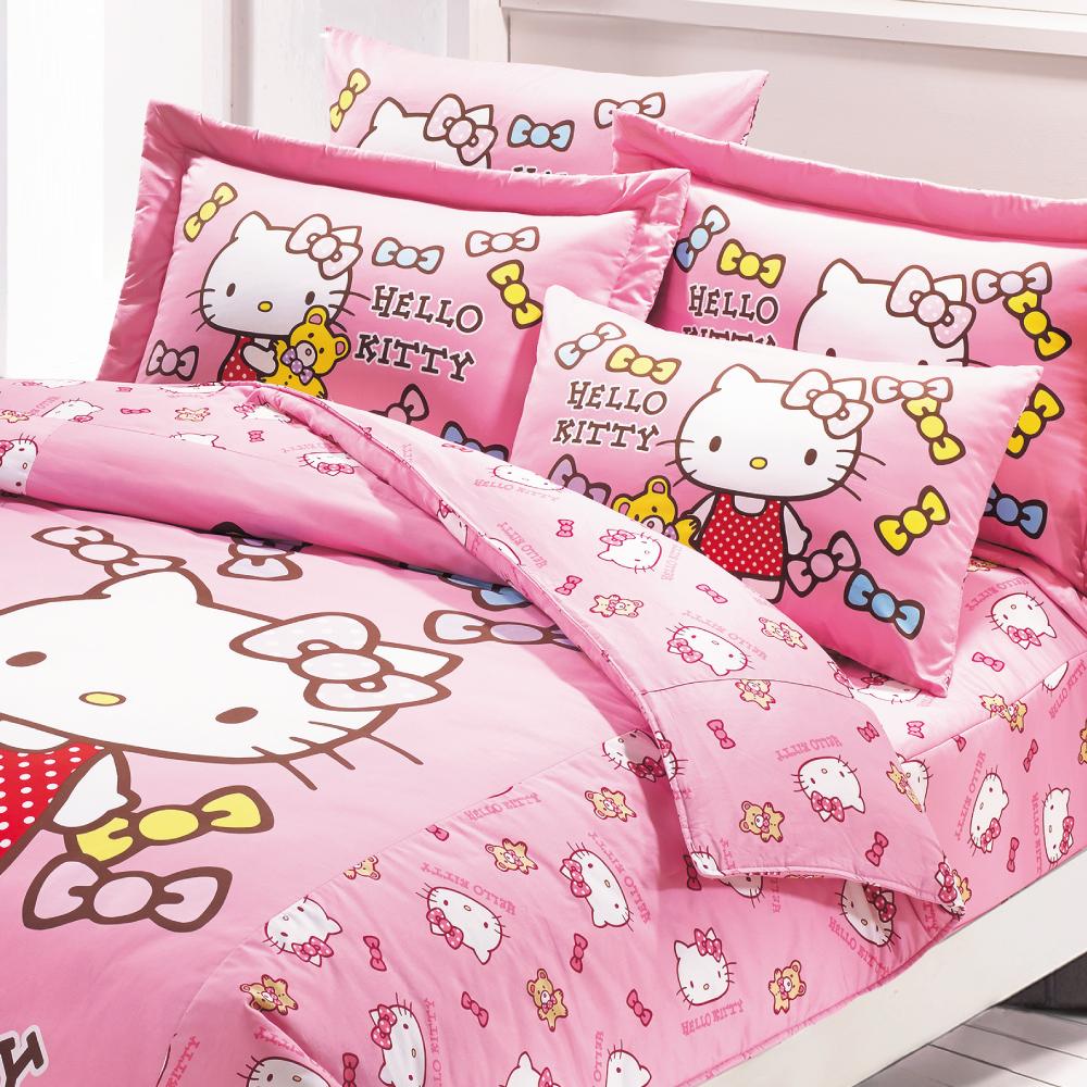 【鴻宇HongYew】美國棉/台灣製/日本抗菌/Hello Kitty哈尼小熊系列-雙人四件式薄被套床包組