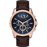 A│X Armani Exchange 探險家三眼計時腕錶-藍x玫瑰金框/44mm AX2508