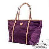 DF Queenin日韓 - 日本熱銷系列新款尼龍手提肩背購物包-紫色