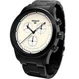 elegantsis Clasic Fashion 城市玩家計時腕錶-米白x黑/44mm ELJT34-JW02MA