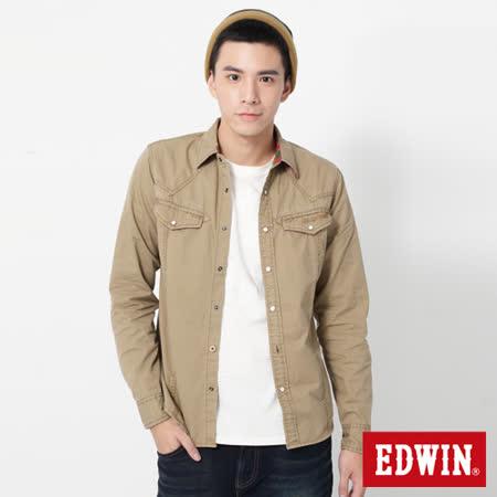 EDWIN  直線繡長袖襯衫