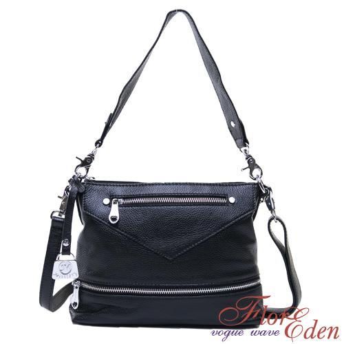 DF Flor Eden -法式簡約頭層牛皮手提側肩包-黑色