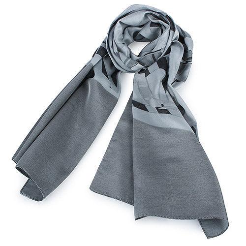 ARMANI COLLEZIONI 大字母LOGO薄圍巾-灰色