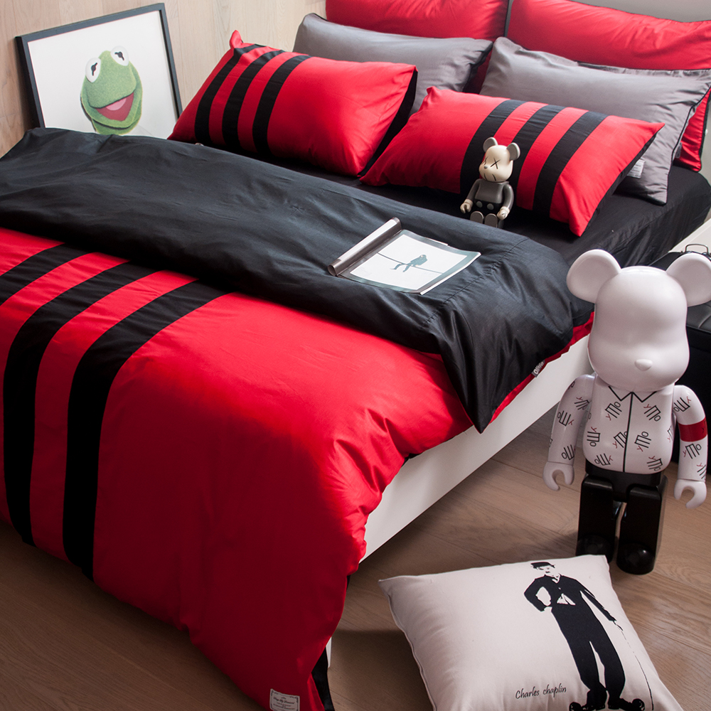 OLIVIA 《 REMIX2 紅X黑 》單人床包枕套兩件組