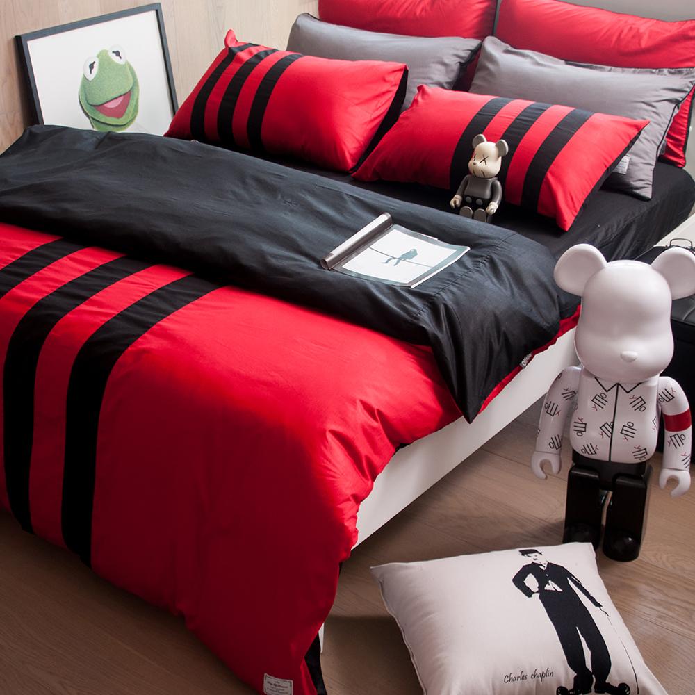 OLIVIA 《 REMIX2 紅X黑 》雙人床包枕套三件組
