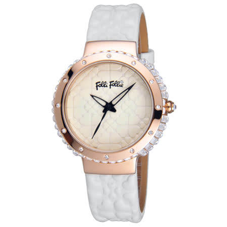 Folli Follie 海洋風情晶鑽時尚腕錶-玫瑰金框白x皮帶