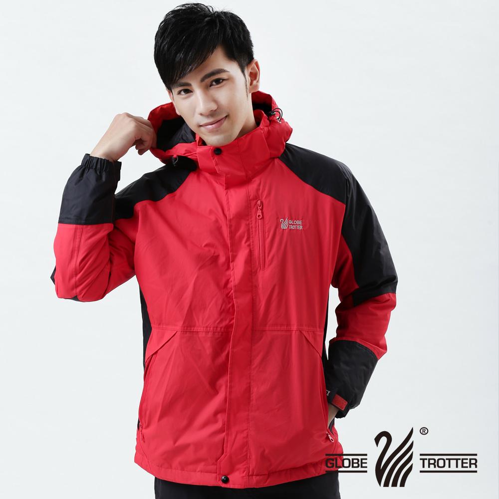 【遊遍天下】GlobeTex男款JIS90%羽絨禦寒防風防水貼條羽絨外套A026紅/黑