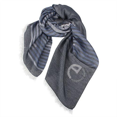 ARMANI COLLEZIONI 條紋撞色絲質薄圍巾-灰紫色