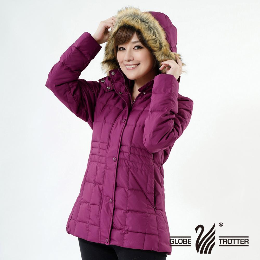 【遊遍天下】JIS90%羽絨極暖防風防潑水中長版羽絨外套A062紫紅