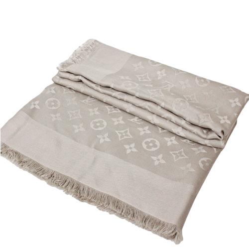 Louis Vuitton LV M71336 Monogram 經典花紋羊毛絲綢披肩圍巾.米色_預購
