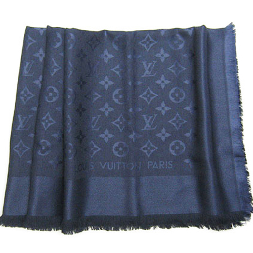 Louis Vuitton LV M72412 Monogram 經典花紋羊毛絲綢披肩圍巾.深藍色_預購
