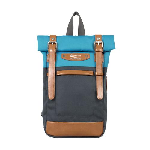 【estilo】時尚玩色系列 撞色設計 兩用單肩包/後背包(藍)