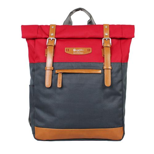 【estilo】尚玩色系列 撞色設計 後背包(紅)