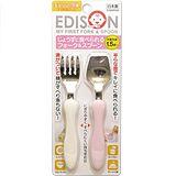 (任選)【EDISON 阿卡將】日本製 幼童學習叉子湯匙組 餐具組 (白+粉)