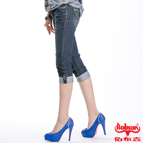 BOBSON 女款反摺褲口七分褲(藍172-52)