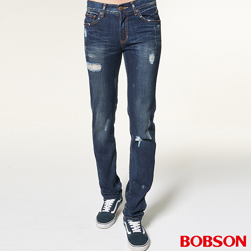 BOBSON 男款噴漆立體貓鬚直筒褲 1761~53