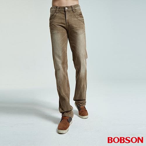 BOBSON 男款洗刷紋半舊直筒褲(1784-75)