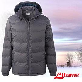 【意都美 Litume】男款 可拆式帽保暖羽絨衣/羽絨外套 深灰 F3170