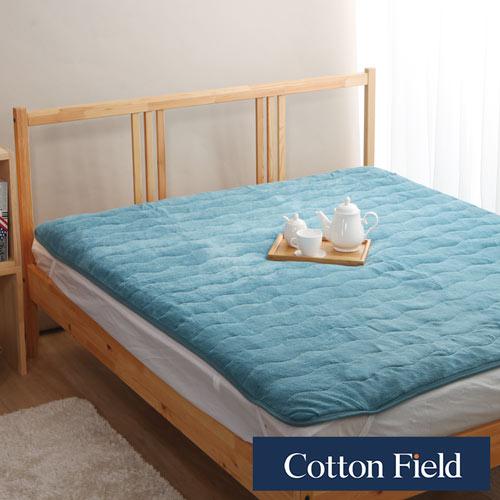 棉花田【暖暖】超細纖維雙人加大保暖墊-海藍色