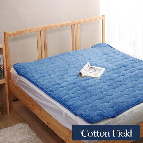 棉花田【暖暖】超細纖維雙人加大保暖墊-深藍色