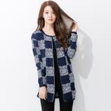 Wonderland 日韓最夯高質感針織外套(藍格紋)
