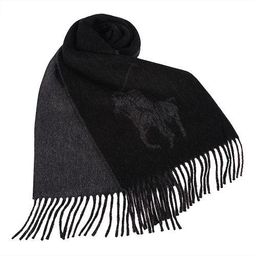 RALPH LAUREN POLO  大馬Logo雙色羊毛流蘇圍巾-黑色
