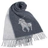 RALPH LAUREN POLO 大馬Logo雙色羊毛流蘇圍巾-灰色
