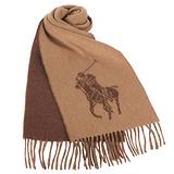 RALPH LAUREN POLO 大馬Logo雙色羊毛流蘇圍巾-駝色