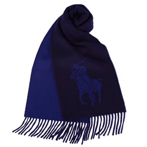 RALPH LAUREN POLO 大馬Logo雙色羊毛流蘇圍巾-深藍色