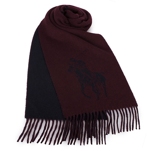 RALPH LAUREN POLO 大馬Logo雙色羊毛流蘇圍巾-酒紅色