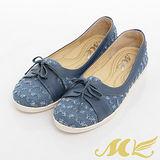 MK-臺灣製-牛仔抽鬚綁帶平底休閒鞋-藍色