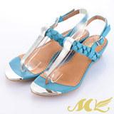 MK-陽光夏日-金屬皮革撞色夾腳低跟涼鞋-藍色