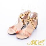 MK-性感搖滾-豹紋繞踝金屬色羅馬涼鞋-桔金色