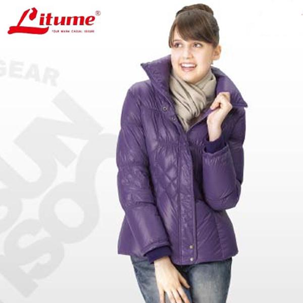 【意都美 Litume】 女款 立體輕量防潑水透氣保暖羽絨外套_ F3153 藍紫