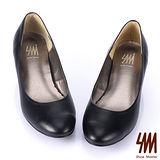 SM -MIT時尚經典百搭原色真皮中低跟鞋-黑