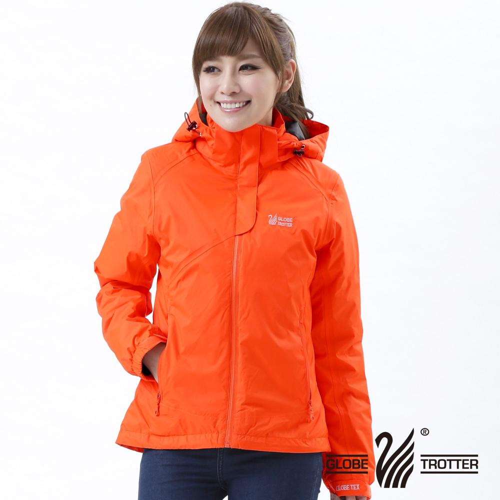 【遊遍天下】Globetex女款JIS90%羽絨防風防水貼條機能羽絨外套A001桔色